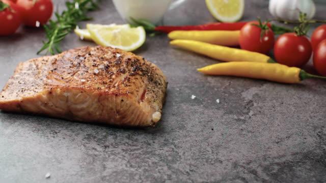 salmon steak/debica/poland - fish meal stock videos & royalty-free footage