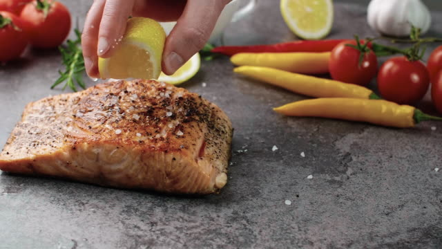 salmon steak/debica/poland - lemon stock videos & royalty-free footage