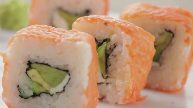 salmon sushi - wasabi sauce stock videos and b-roll footage