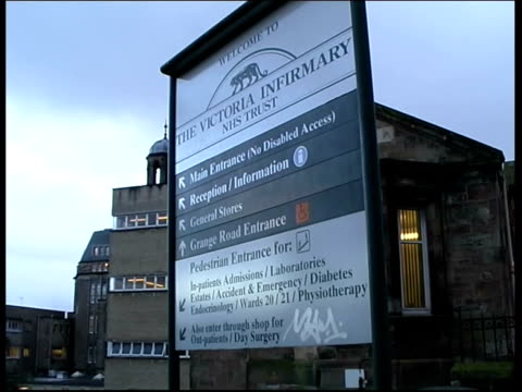 salmonella deaths in scottish hospital; itn scotland: glasgow: victoria infirmary ext sign at entrance to victoria infirmary gvs hospital - salmonella video stock e b–roll