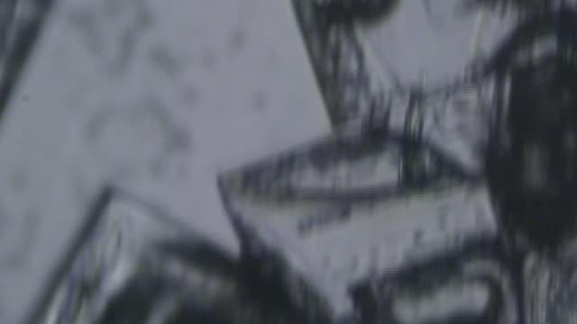 Salt crystals under microscope