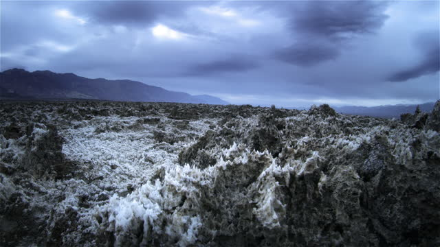salt formations at devils golf course, death valley national park, california - death valley national park stock videos & royalty-free footage