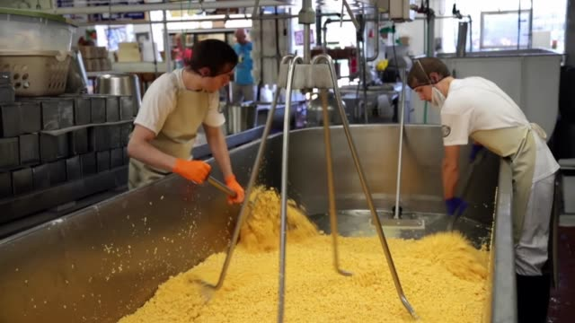 salt is mixed into a vat of colby cheese at the widmer's cheese cellars on june 27, 2016 in theresa, wisconsin. record dairy production in the united... - チェダー点の映像素材/bロール