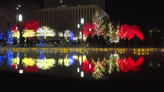 salt lake city christmas lights reflection on water - 飾り点の映像素材/bロール