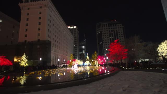 Salt Lake City Christmas lights wide pan