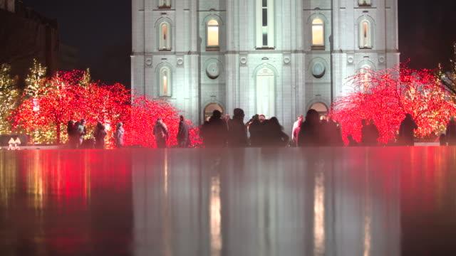 salt lake city mormon temple christmas lights reflection - mormon temple stock videos and b-roll footage