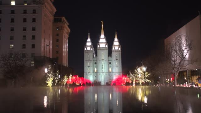 salt lake city mormon temple christmas lights - mormon temple stock videos and b-roll footage