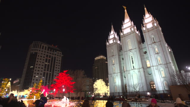 salt lake city mormon temple christmas looking up - mormon temple stock videos and b-roll footage