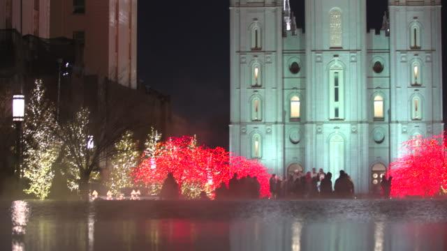salt lake city mormon temple christmas tilt - mormon temple stock videos and b-roll footage