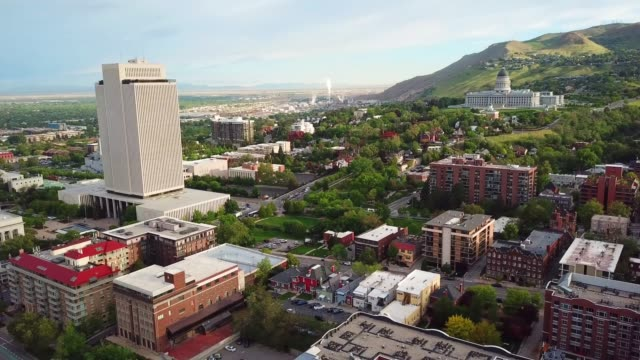 salt lake city seen from above, capitol hill - salt lake city stock videos & royalty-free footage