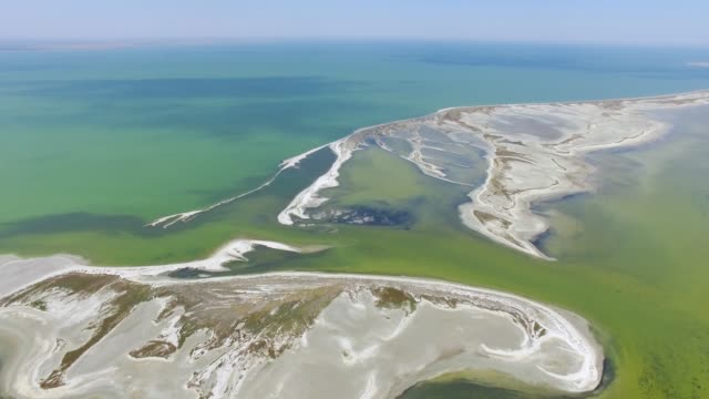 salt lake with coastal salt marshes, aerial view - nature reserve stock videos & royalty-free footage