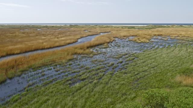 aerial salt marsh on a sunny day - scandinavia stock videos & royalty-free footage