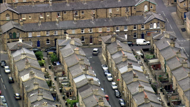 salt mill and saltaire  - aerial view - england,  bradford,  baildon,  united kingdom - 19th century style stock videos and b-roll footage