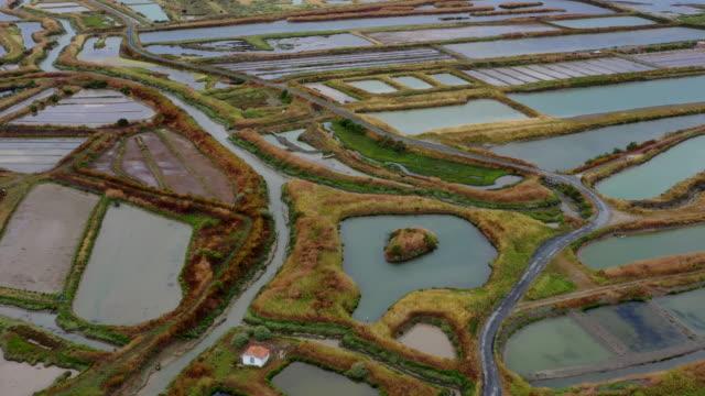 salt ponds on the ile de re, france - nouvelle aquitaine stock videos & royalty-free footage