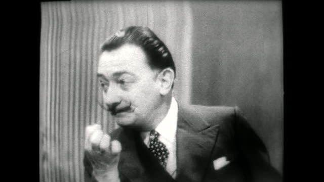 salvador dali speaking in 1955 on his english accent remaining problematic but it not mattering as long as someone understands a little of what he's... - audio available stock videos & royalty-free footage