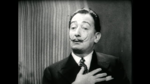 salvador dali speaking in 1955 on the rise of abstract painters in the new york art scene not liking the movement but still appreciates the vitality... - audio available stock videos & royalty-free footage