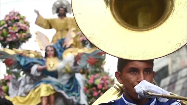 salvadorian catholics take part in a religious procession in honour of their patron saint divino salvador in the country's capital on saturday - religious saint stock videos and b-roll footage