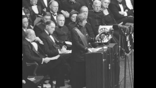 "salvation army general evangeline booth speaks from podium at madison square garden: ""march on, march on. only a few more steps to take. only a few... - salvation army stock videos & royalty-free footage"