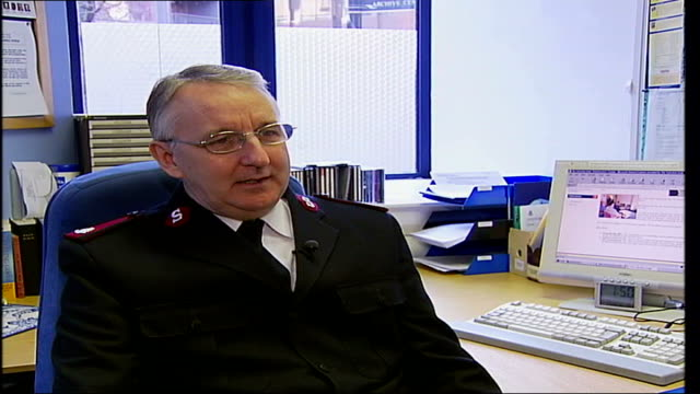 refurbished westminster hostel; major malcolm walters interview sot now we can assess a 'client's' needs and give them access to training and study... - salvation army stock videos & royalty-free footage