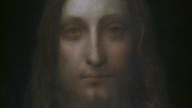 salvator mundi a painting of christ by leonardo da vinci recently sold at auction in new york for a record $450 million will be displayed at the... - auction stock videos & royalty-free footage