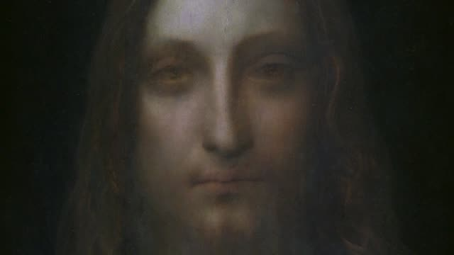 salvator mundi a painting of jesus christ by the renaissance polymath leonardo circa 1500 is the star lot in new york's november art auctions that... - auction stock videos & royalty-free footage