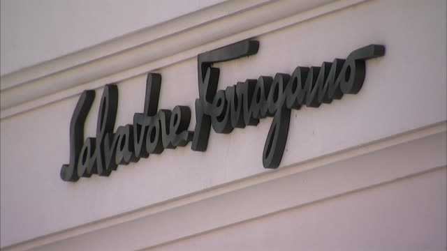 salvatore ferragamo sign and logo on shop exterior / palm beach, florida, usa - salvatore ferragamo stock videos & royalty-free footage