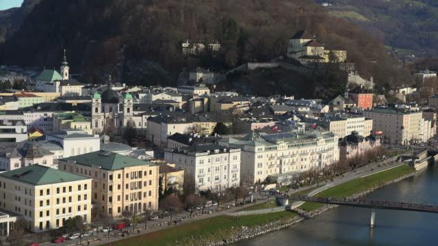 Salzach River, Elisabethkai and Capuchin monastery, Salzburg, Austria