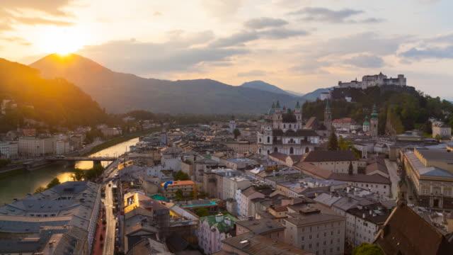 TL Salzach river, Salzburg Old Town and castle at dawn