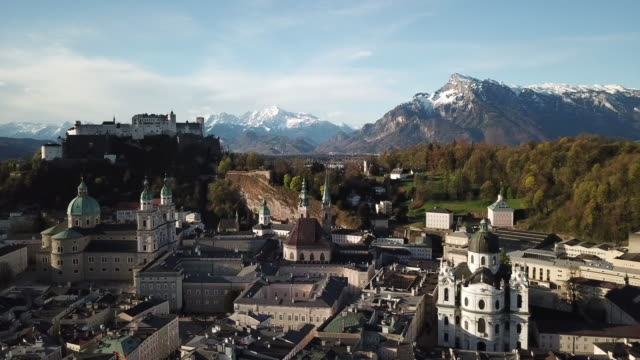 salzberg austria aerial over hohensalzburg fortress - austria stock videos & royalty-free footage