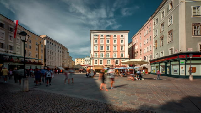 salzburg alte markt platz day - courtyard stock videos & royalty-free footage