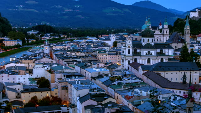 Salzburg day to night lapse from theatre with zoomback