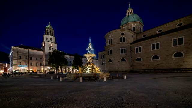 Salzburg Residenz Platz night