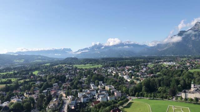 salzburg slate alps and town view from hohensalzburg fortress - austrian culture stock videos and b-roll footage
