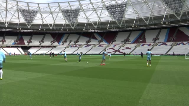 sam allardyce claims entrapment has won; lib / stratford: queen elizabeth olympic park: olympic stadium / london stadium: wide shot west ham united... - sam west stock videos & royalty-free footage