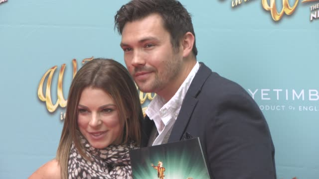 stockvideo's en b-roll-footage met sam attwater and vicky ogden at the wind in the willows press night / vip gala at london palladium on june 29 2017 in london england - london palladium