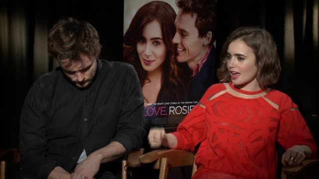 sam claflin and lily collins on what made this role personal, on sam claflin being compared to hugh grant, on whether they think this a younger twist... - day lily stock videos & royalty-free footage