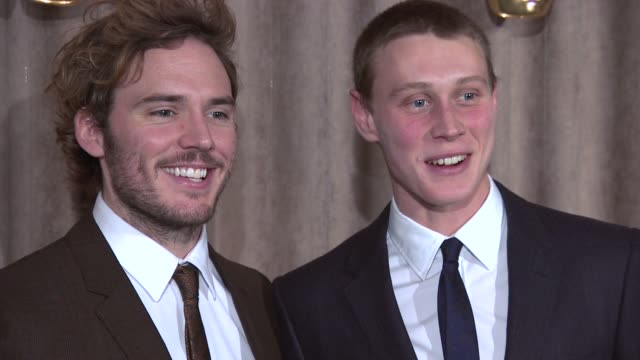 stockvideo's en b-roll-footage met sam claflin george mackay at bafta breakthrough brits event at burberry on october 27 2014 in london england - george mackay