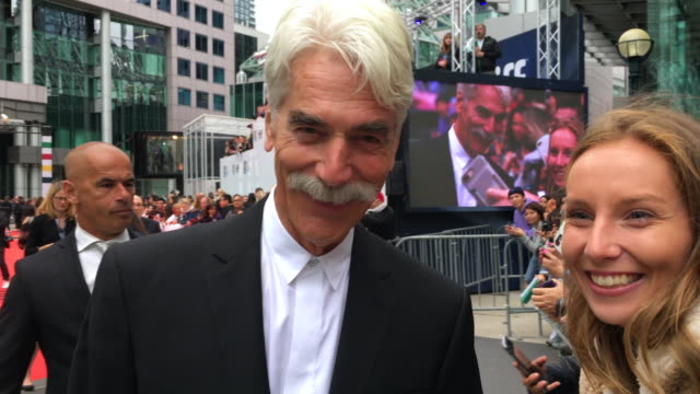 """sam elliott, actor in the movie """"a star is born"""" greets the fans during the red carpet event outside the roy thomson hall in the downtown district of... - sam elliott stock videos & royalty-free footage"""