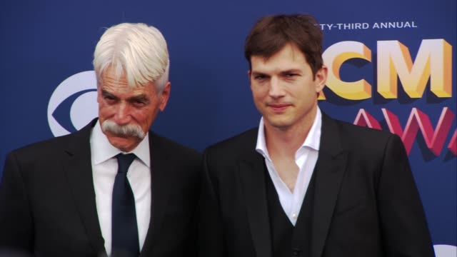 sam elliott and ashton kutcher at the 53rd academy of country music awards at mgm grand garden arena on april 15 2018 in las vegas nevada - ashton kutcher stock-videos und b-roll-filmmaterial