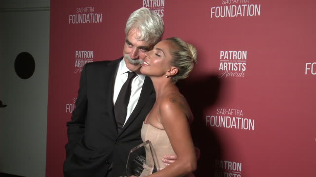 sam elliott and lady gaga at the sagaftra foundation's 3rd annual patron of the artists awards at wallis annenberg center for the performing arts on... - best supporting actor stock videos & royalty-free footage