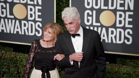 sam elliott, katharine ross at 76th annual golden globe awards - arrivals in los angeles, ca 1/6/19 - 4k footage - sam elliott stock videos & royalty-free footage