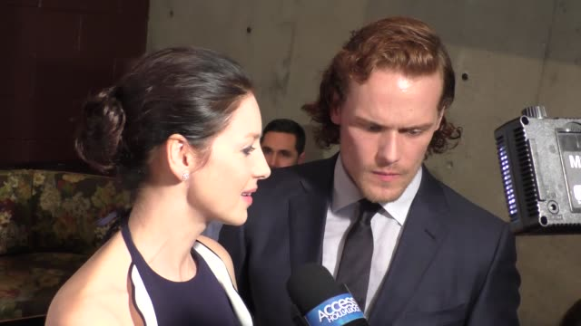 sam heughan & caitriona balfe at the tv guide magazine celebrates starz's outlander at pailhouse in west hollywood in celebrity sightings in los... - sam west stock videos & royalty-free footage