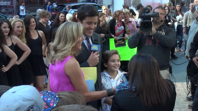 sam horowitz his mom angela being interviewed by lara spencer josh elliott on the outside set of good morning america in times square in new york ny... - good morning america stock videos and b-roll footage
