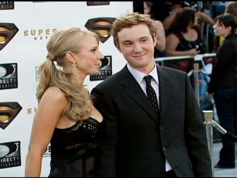 sam huntington and guest at the 'superman returns' premiere at the mann village theatre in westwood california on june 21 2006 - regency village theater stock videos & royalty-free footage