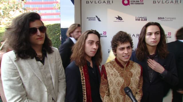 interview sam kiszka josh kiszka jake kiszka and danny wagner at the elton john aids foundation presents the 26th annual academy awards viewing party... - 90th annual academy awards stock videos & royalty-free footage