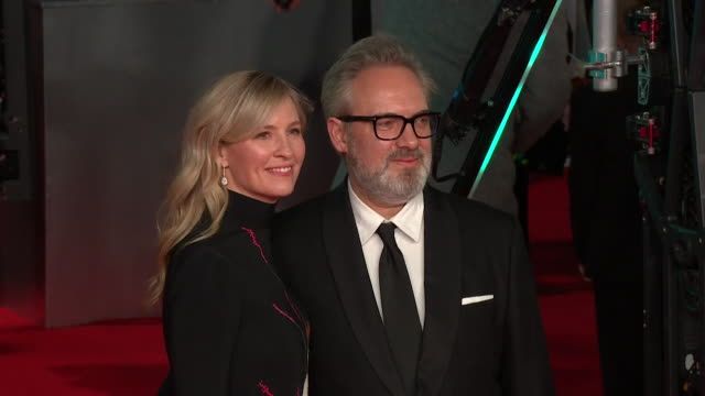 sam mendes and wife alison balsom on red carpet at bafta film awards 2020 - 1917 stock videos & royalty-free footage
