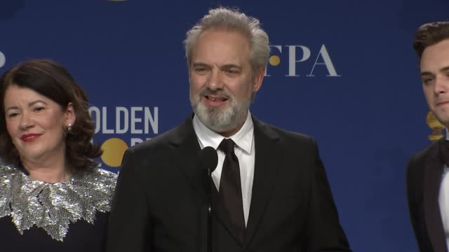 sam mendes at 77th annual golden globe awards - press room at the beverly hilton hotel on january 05, 2020 in beverly hills, california. - golden globe awards stock videos & royalty-free footage