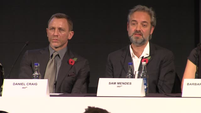 sam mendes on directing the action sequences at the bond 23 launch press conference skyfall at london england - skyfall stock videos and b-roll footage