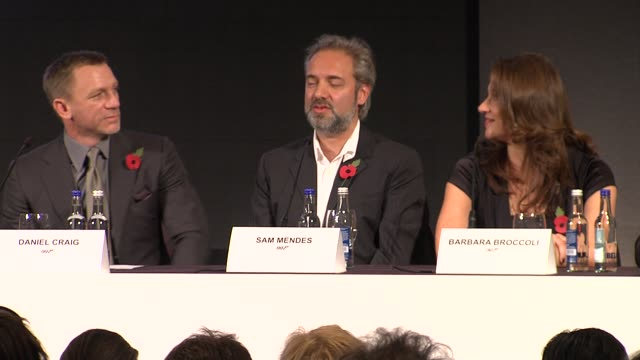 Sam Mendes on how he can't give away much about the movie at the Bond 23 Launch Press conference Skyfall at London England