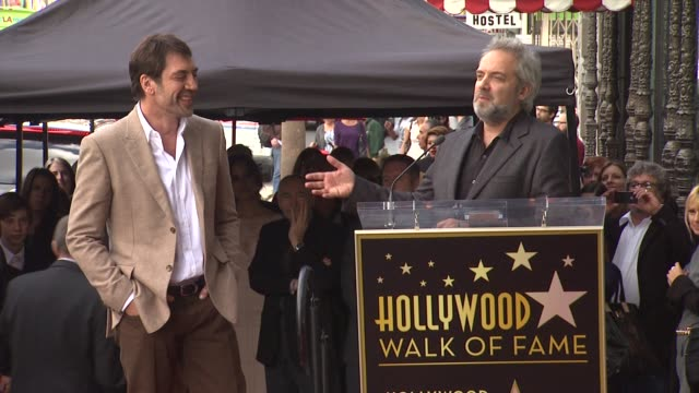sam mendes on working with javier bardem at javier bardem honored with star on the hollywood walk of fame in hollywood ca on 11/8/12 - sam mendes stock videos & royalty-free footage